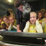 48th Preston Brownies using the equipment at Rock FM